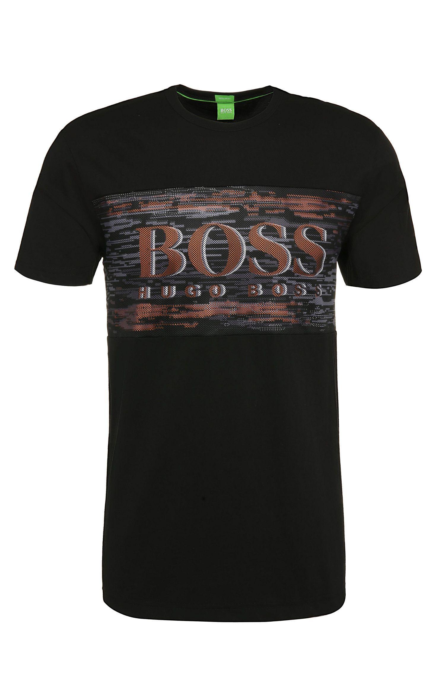 T-shirt en coton Regular Fit orné de maille filet et d'un imprimé: «Tee10»