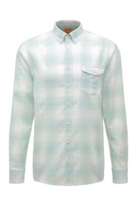 Camisa a cuadros regular fit en mezcla de algodón con lino: 'Elabor', Turquesa