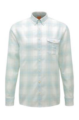 Regular-fit ruitjesoverhemd van een katoenmix met linnen: 'Elabor', Turkoois