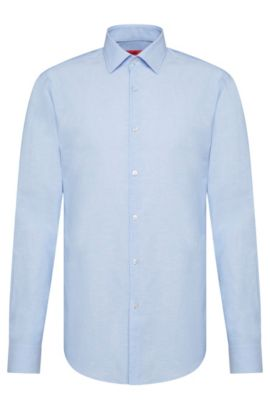 Dezent gemustertes Slim-Fit Hemd aus Baumwoll-Mix: 'C-Jenno', Hellblau