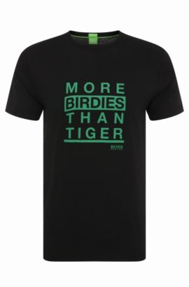 Regular-fit T-shirt van katoen met tekstprint: 'Tee 13', Zwart