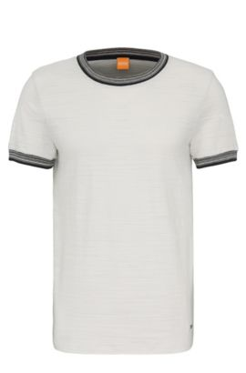 Regular-fit T-shirt van zuivere katoen: 'Teamer', Naturel