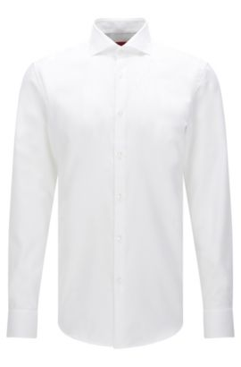 Slim-fit shirt in textured cotton: 'C-Jason', Open White