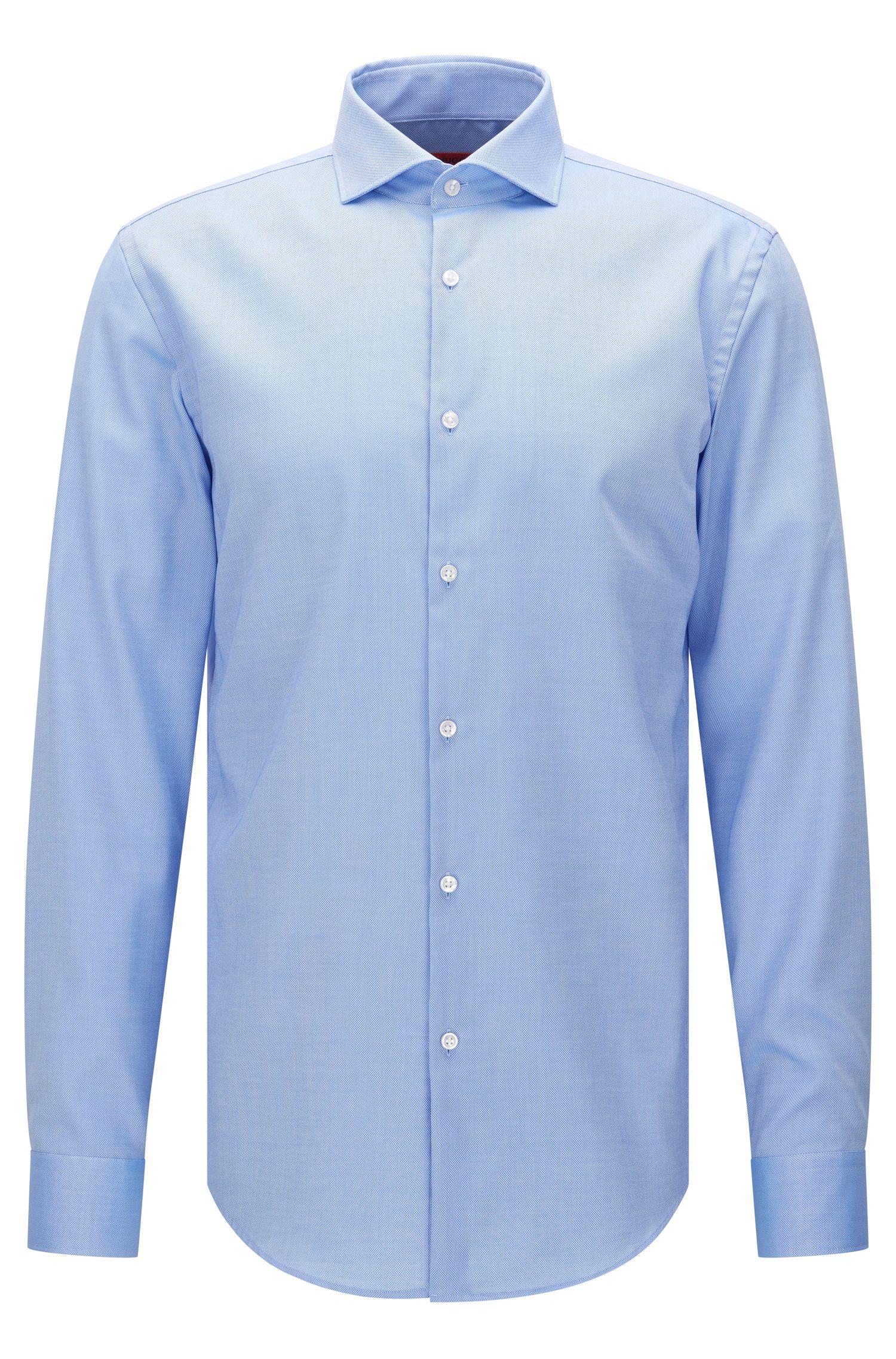 Slim-fit overhemd van gestructureerde katoen: 'C-Jason'