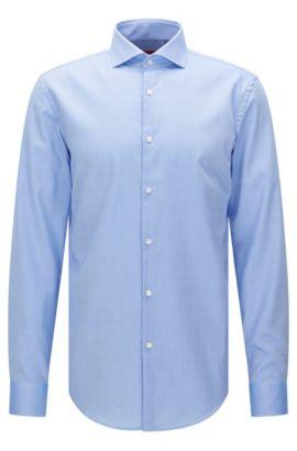 Slim-fit shirt in textured cotton: 'C-Jason', Light Blue