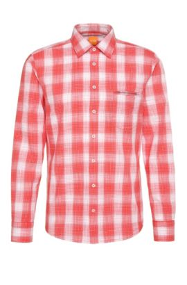 Checked regular-fit shirt in textured cotton: 'Classy', Red