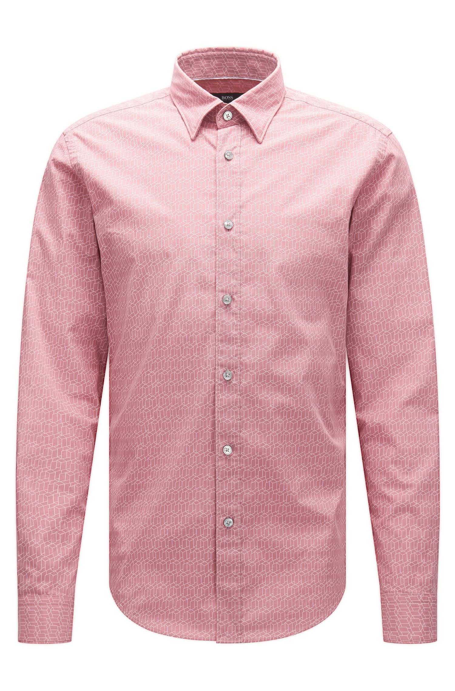 Patterned slim-fit shirt in cotton: 'Rodney'
