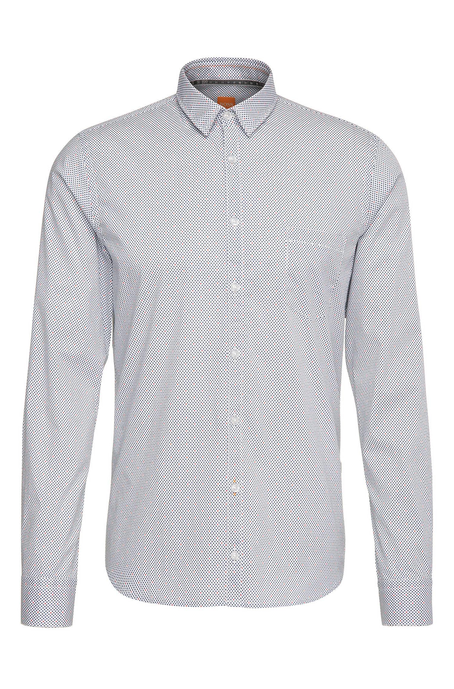 Gestippeld, extra slim-fit overhemd van elastische katoen: 'Eglam'