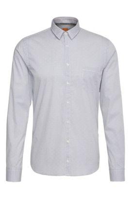 Camisa extra slim fit en algodón elástico con puntos: 'Eglam', Blanco