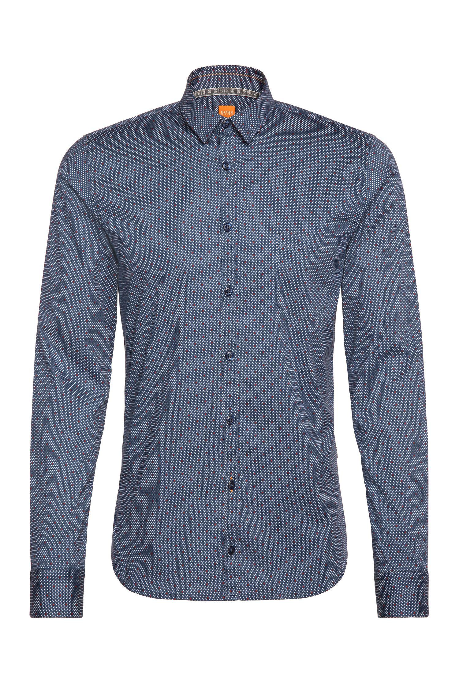 Gepunktetes Extra Slim-Fit Hemd aus elastischer Baumwolle: ´Eglam`