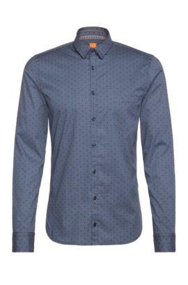 Gepunktetes Extra Slim-Fit Hemd aus elastischer Baumwolle: ´Eglam`, Dunkelblau