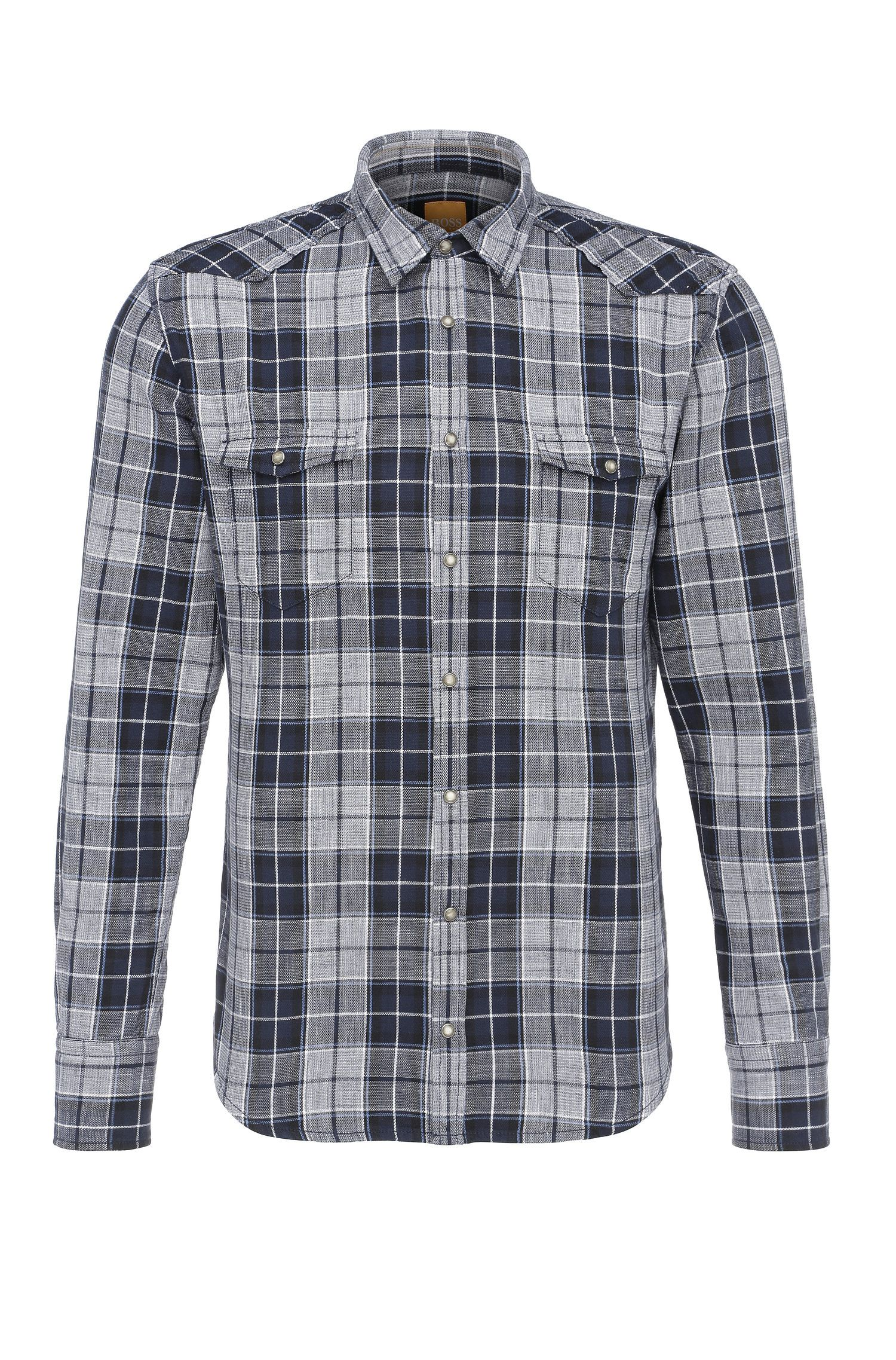 Slim-fit checked cotton shirt in Western style: 'Erodeo'