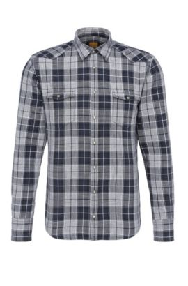 Slim-fit checked cotton shirt in Western style: 'Erodeo', Black