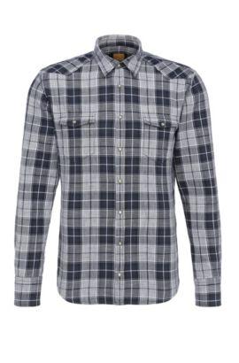 Geruit slim-fit overhemd van katoen in westernstijl: 'Erodeo', Zwart