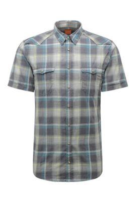 Chemise Slim Fit en coton à carreaux, de style western: «Erodeo-short», Turquoise
