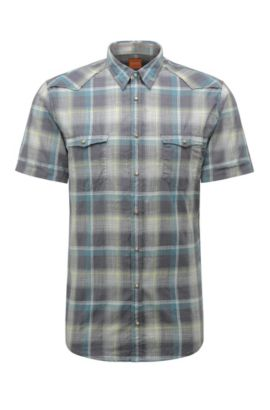 Camicia Western slim fit in cotone a scacchi: 'Erodeo-short', Turchese