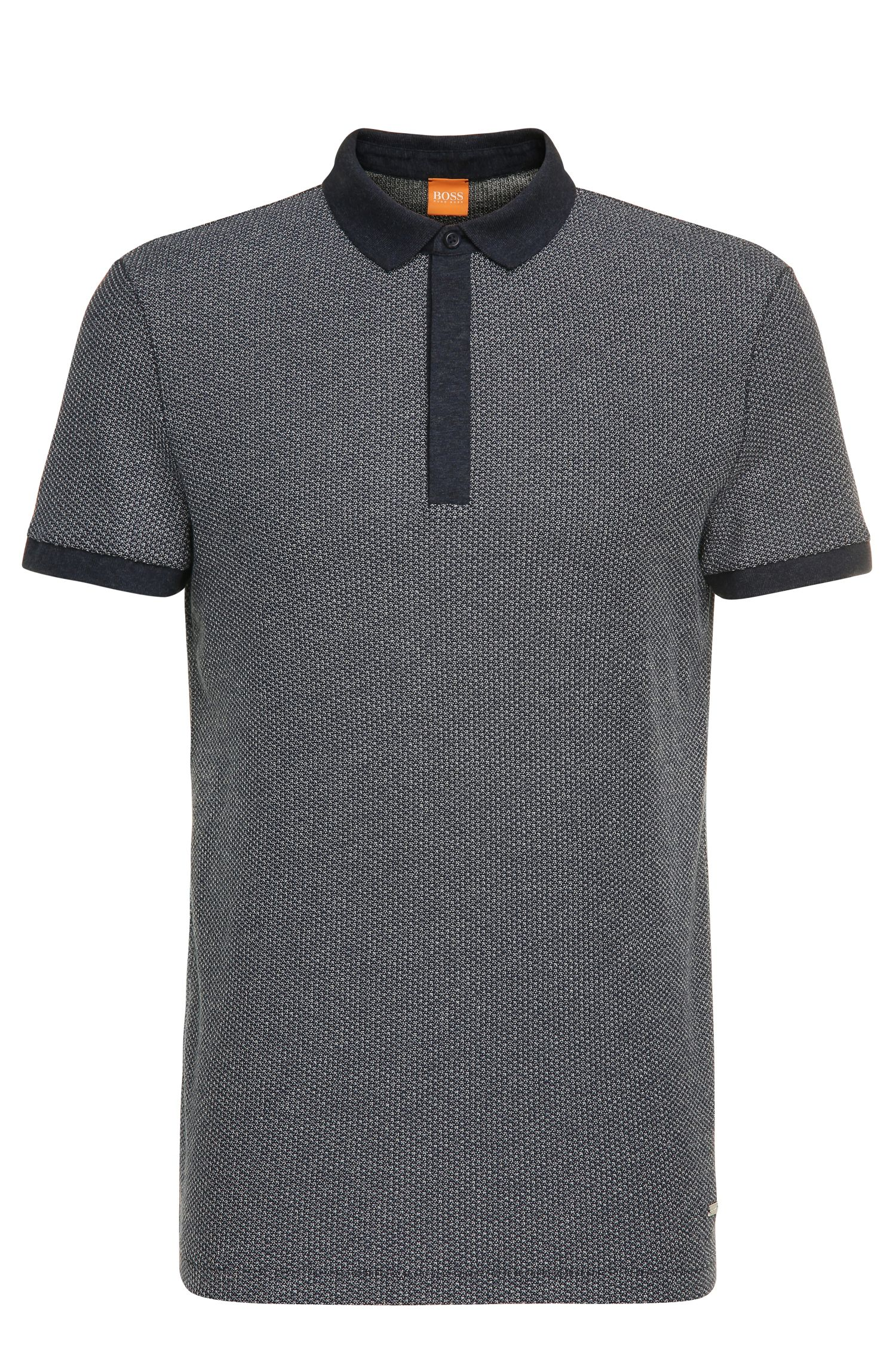 Cotton polo shirt in Jacquard look: 'Persys'