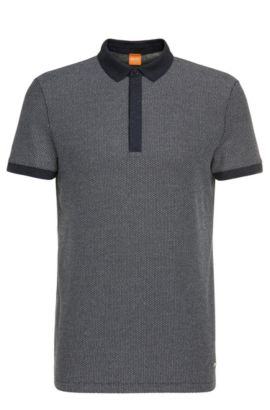 Cotton polo shirt in Jacquard look: 'Persys', Dark Blue
