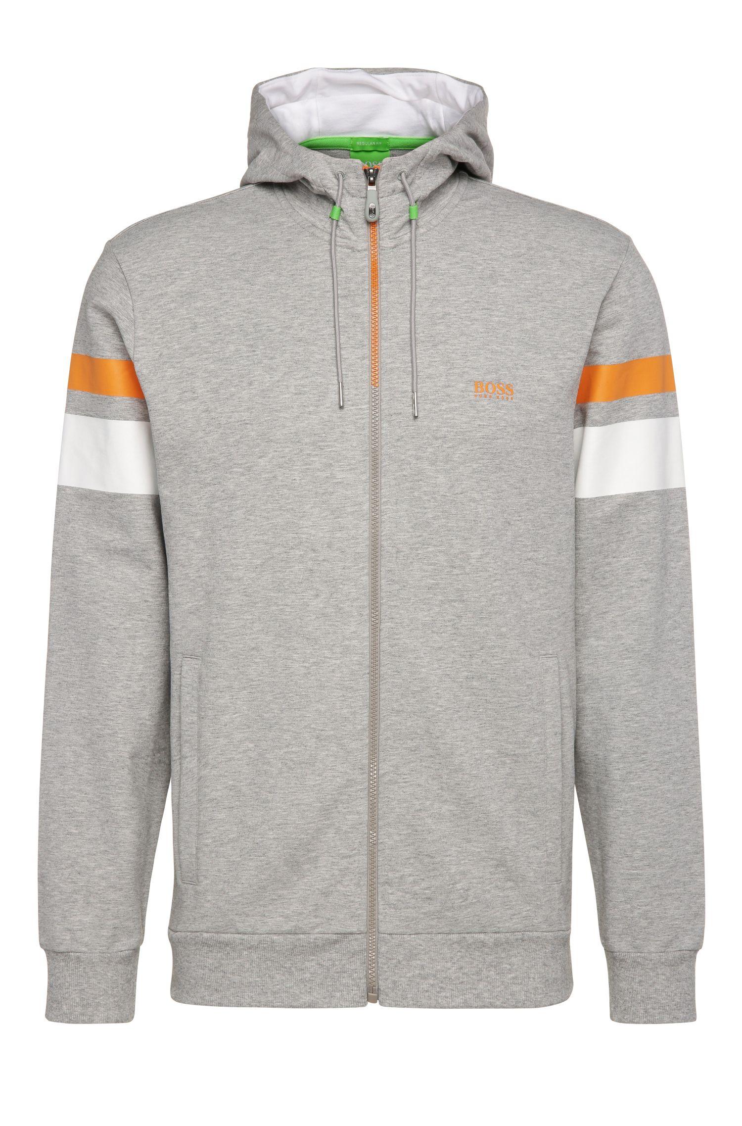 Regular-fit sweatshirt jacket in stretchy cotton: 'Saggy 1'