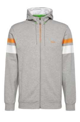 Regular-fit sweatshirt jacket in stretchy cotton: 'Saggy 1', Light Grey