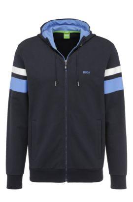 Regular-fit sweatshirt jacket in stretchy cotton: 'Saggy 1', Dark Blue