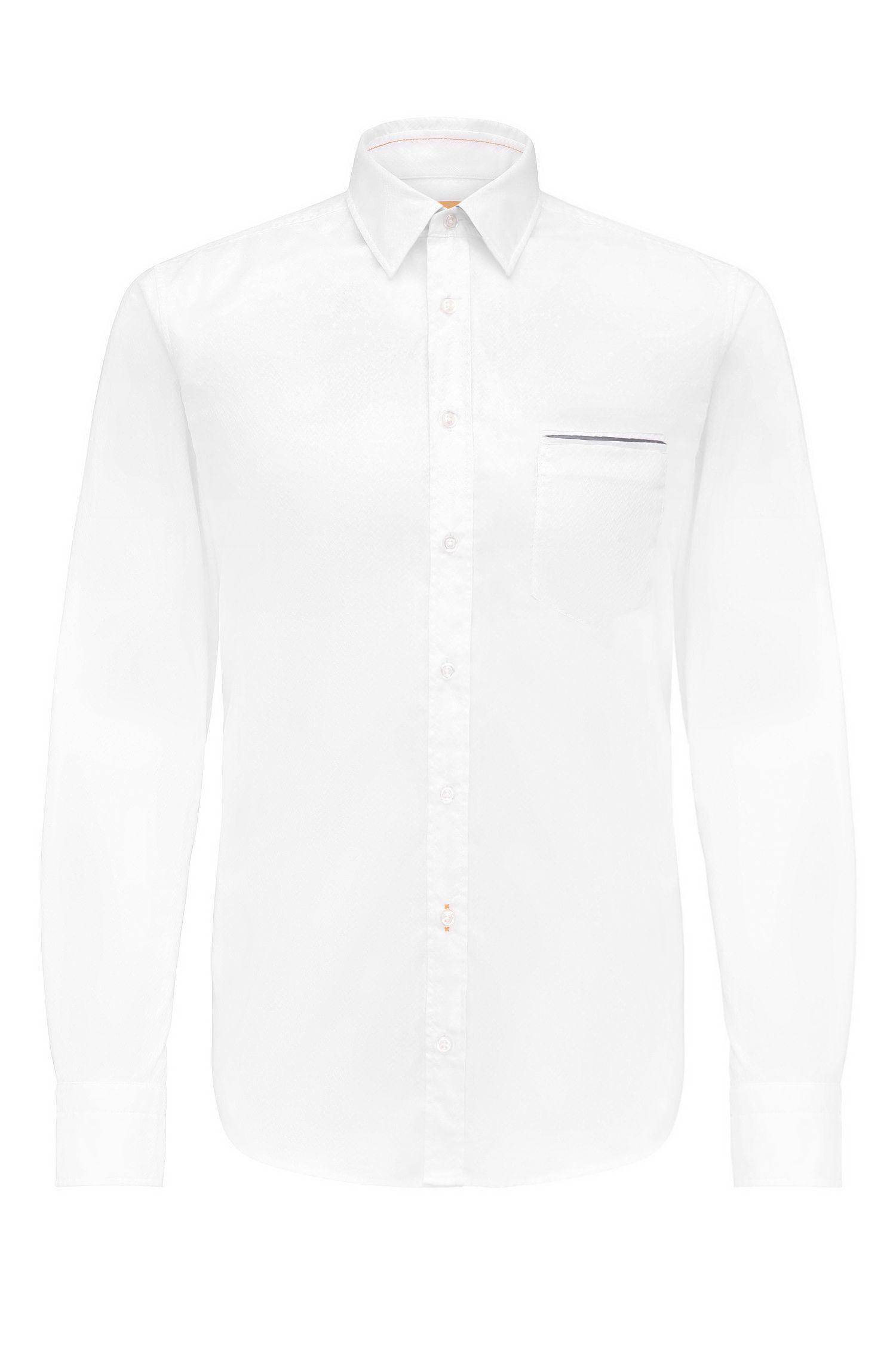 Regular-fit overhemd van katoen met visgraatstructuur: 'Classy'