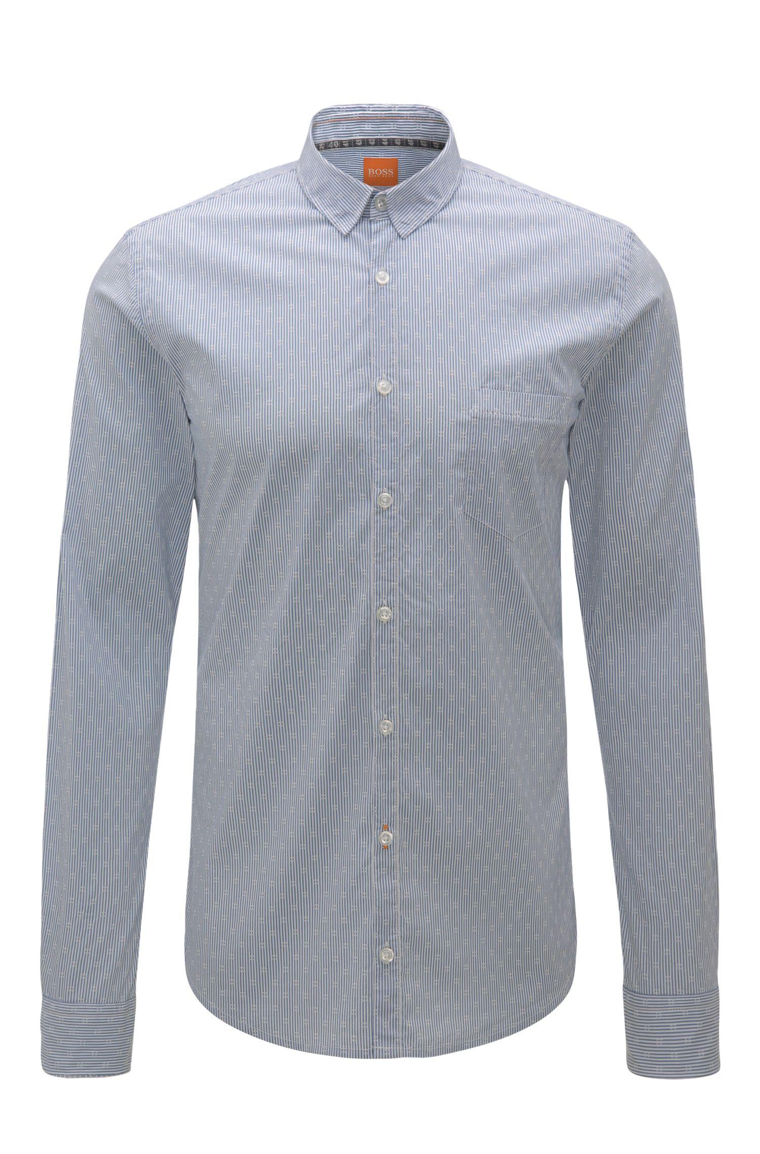 Gestreept, extra slim-fit overhemd van een katoenmix met elastaan: 'Eglam'