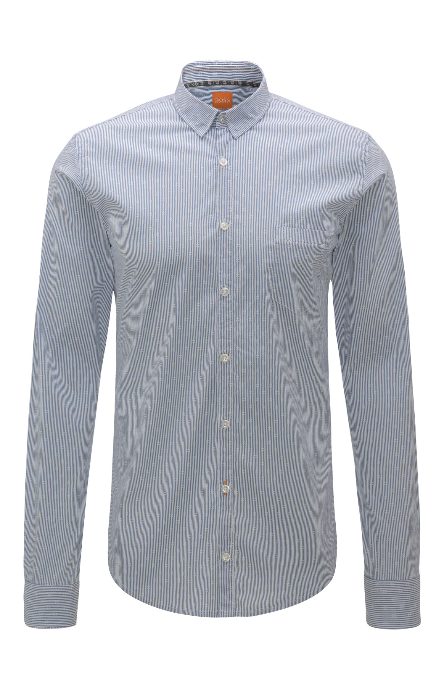 Striped extra slim-fit shirt in cotton blend with elastane: 'Eglam'