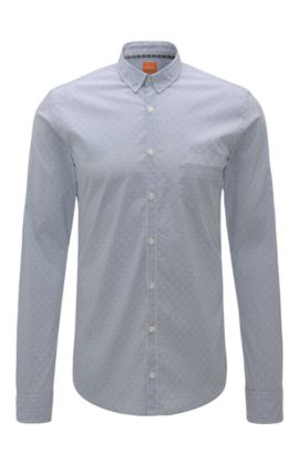 Striped extra slim-fit shirt in cotton blend with elastane: 'Eglam', Open Blue