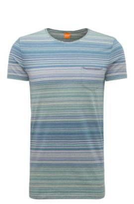 Striped slim-fit t-shirt in cotton: 'Tedryk', Light Grey
