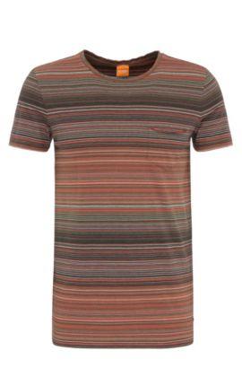 Camiseta a rayas slim fit en algodón: 'Tedryk', Verde oscuro