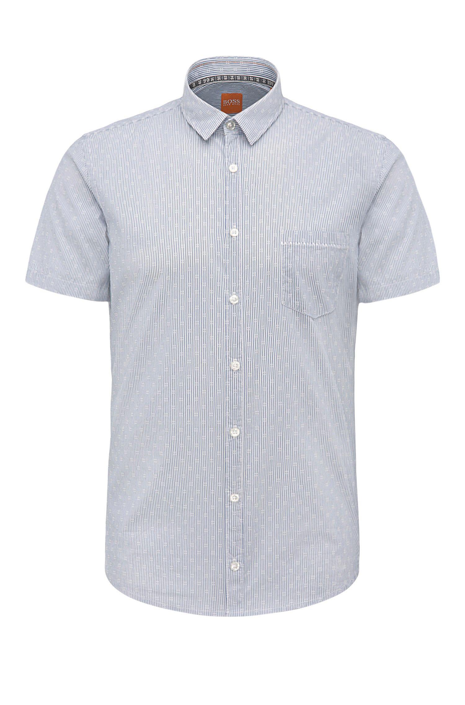 Chemise à manches courtes Extra Slim Fit en coton mélangé extensible à rayures: «Eglam-short»
