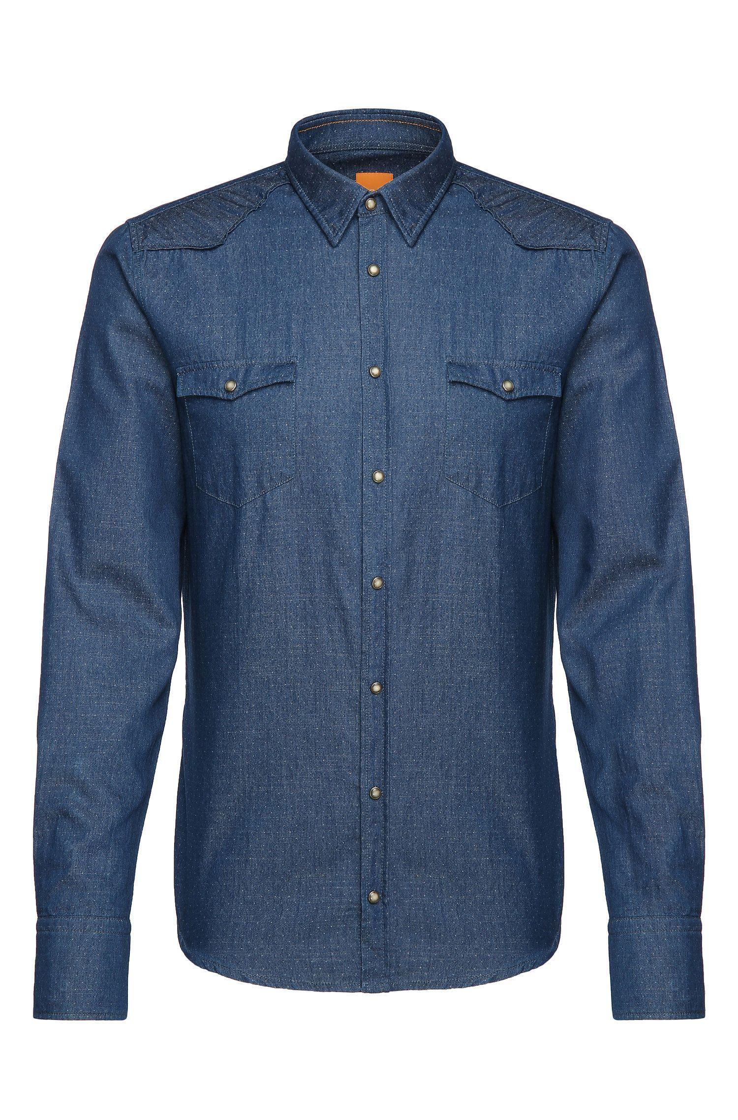 Chemise en jean Slim Fit à pois en coton: «Erodeo»