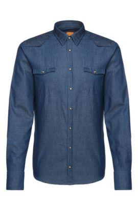Chemise en jean Slim Fit à pois en coton: «Erodeo», Bleu foncé