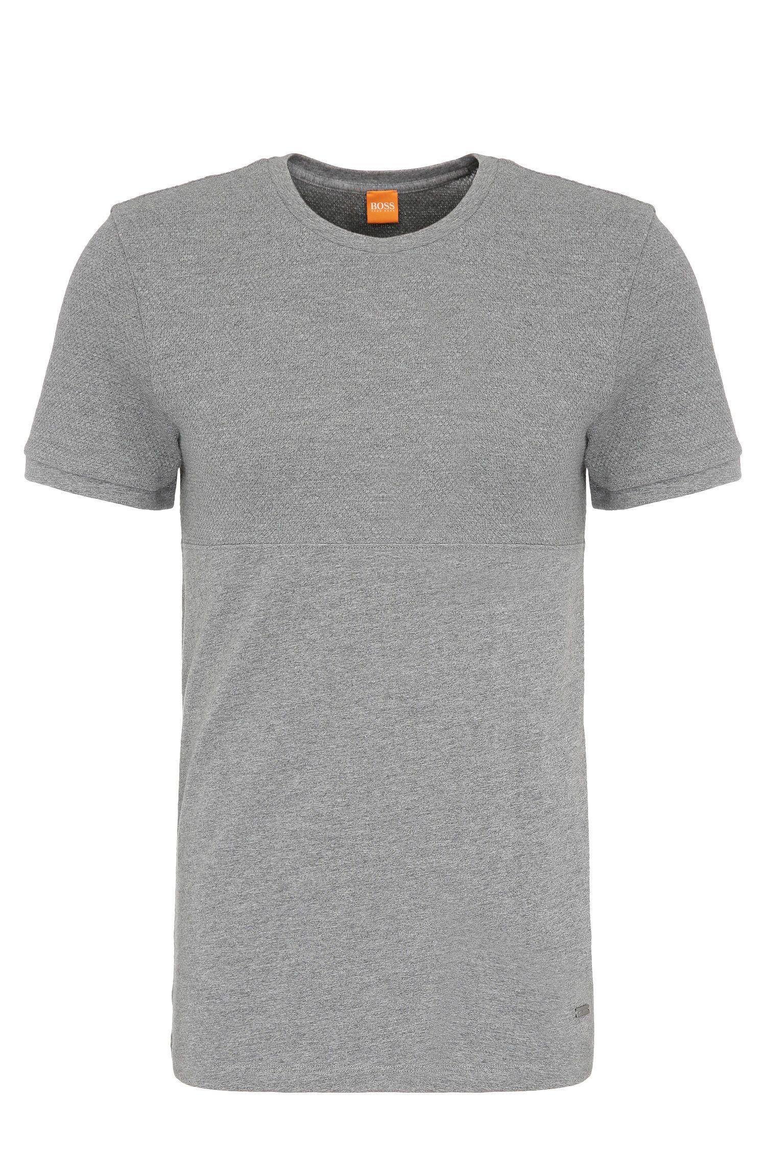 T-shirt slim fit mélange in cotone: 'Tayn'