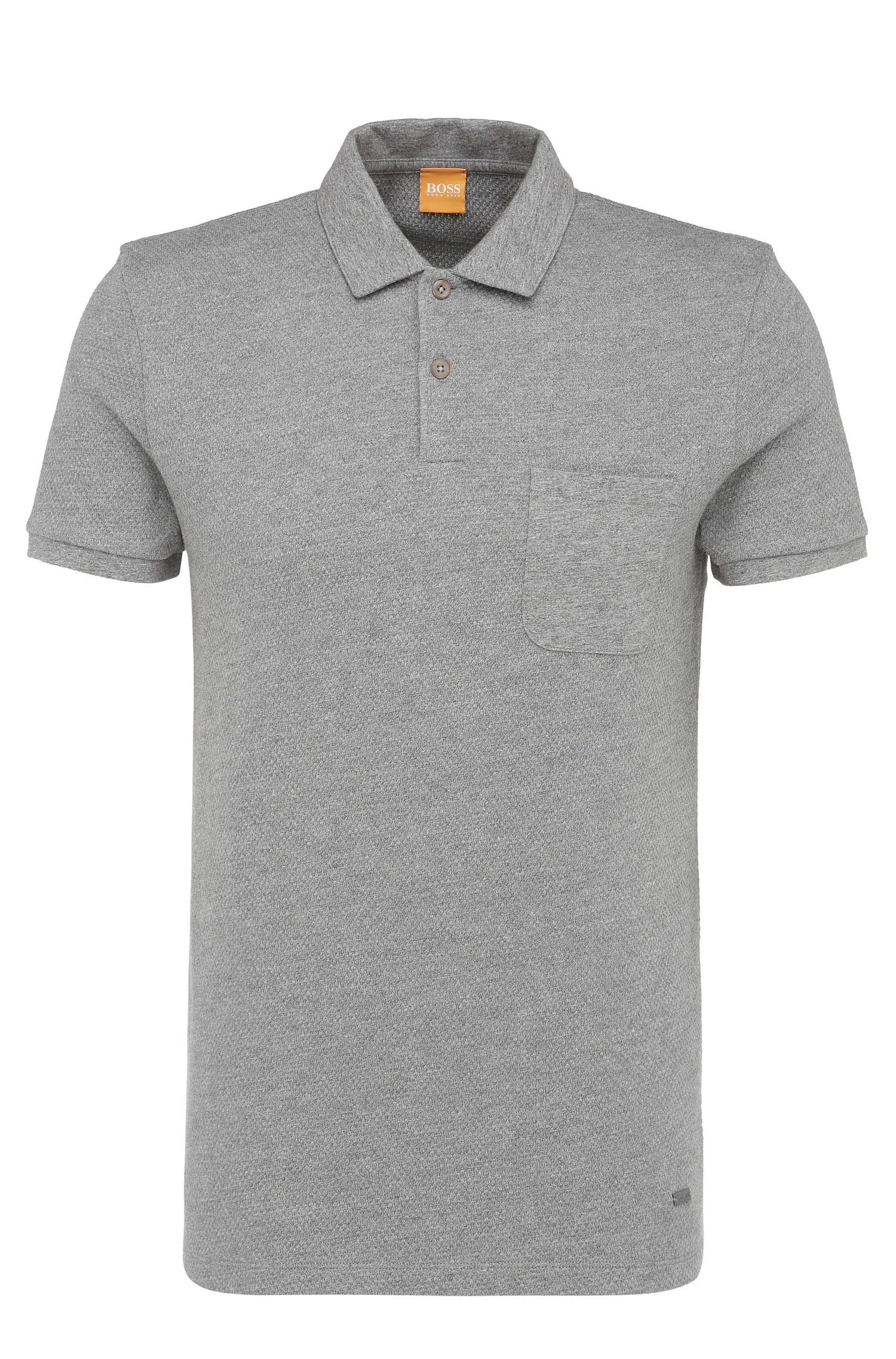Slim-fit polo shirt in textured cotton: 'Plunk'