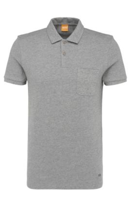 Slim-fit polo shirt in textured cotton: 'Plunk', Light Grey