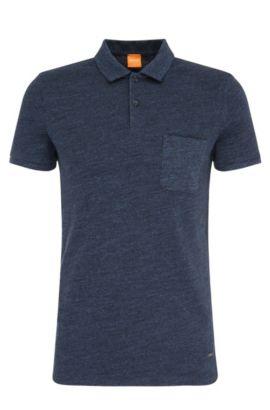 Polo Slim Fit en coton texturé: «Plunk», Bleu foncé