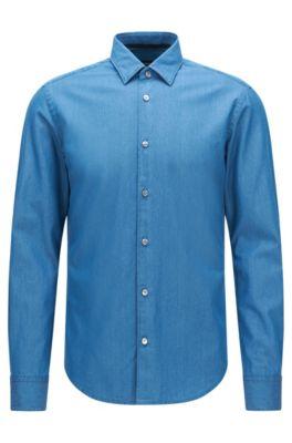 Camisa slim fit en algodón con acabado vaquero: 'Reid_F', Turquesa