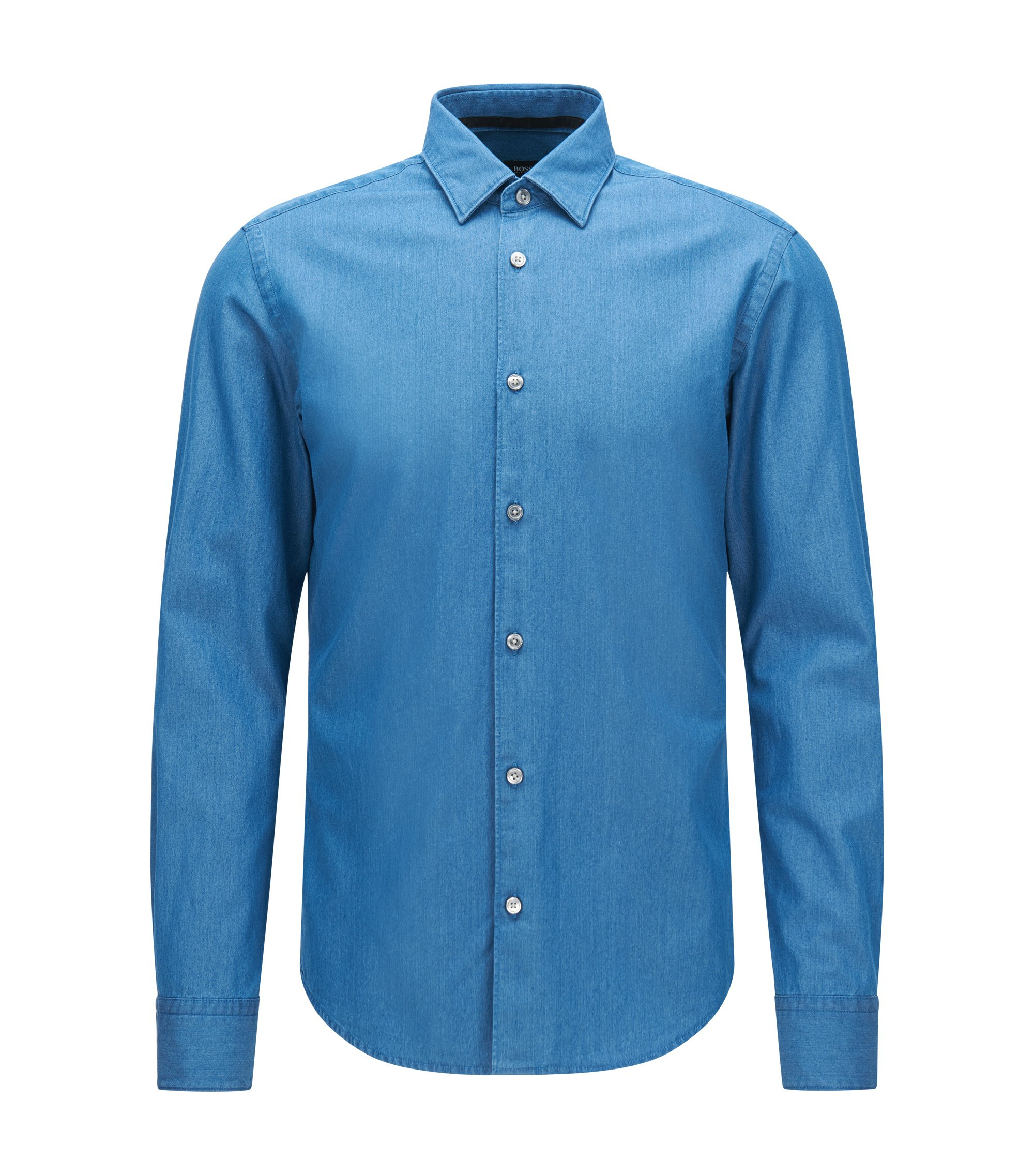 Slim-fit denim-look shirt in cotton: 'Reid_F', Turquoise
