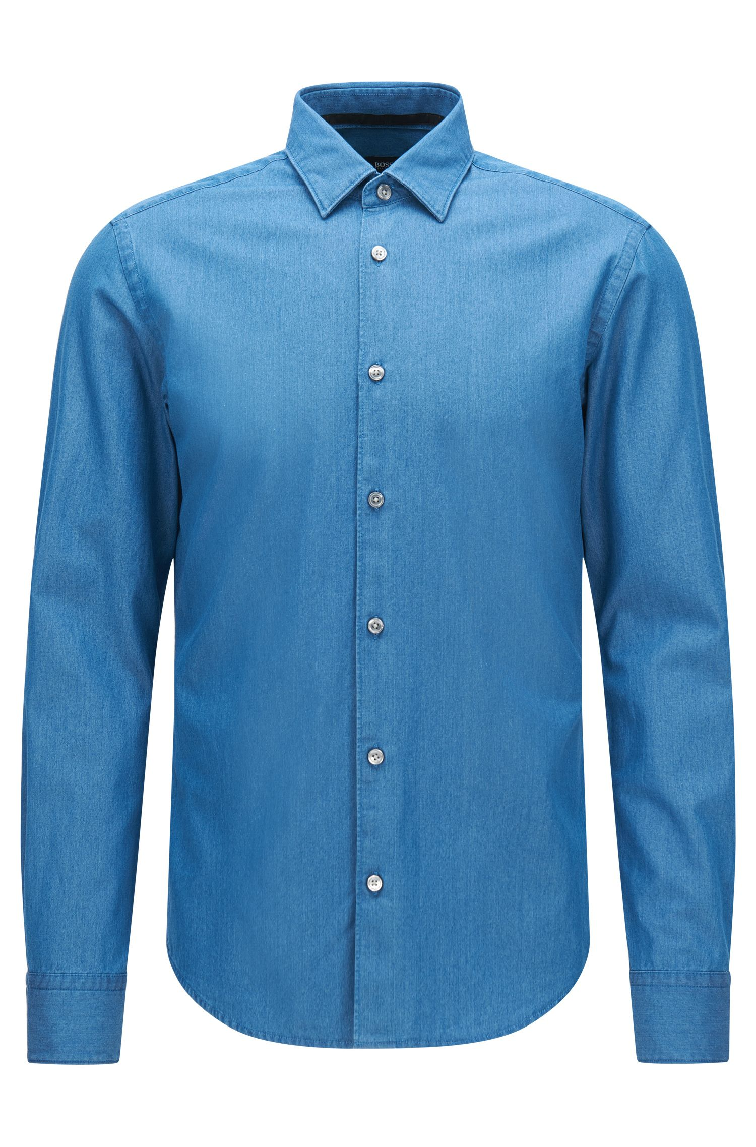 Slim-fit denim-look shirt in cotton: 'Reid_F'