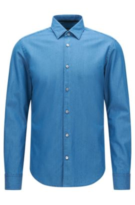 Camicia slim fit in cotone effetto denim: 'Reid_F', Turchese