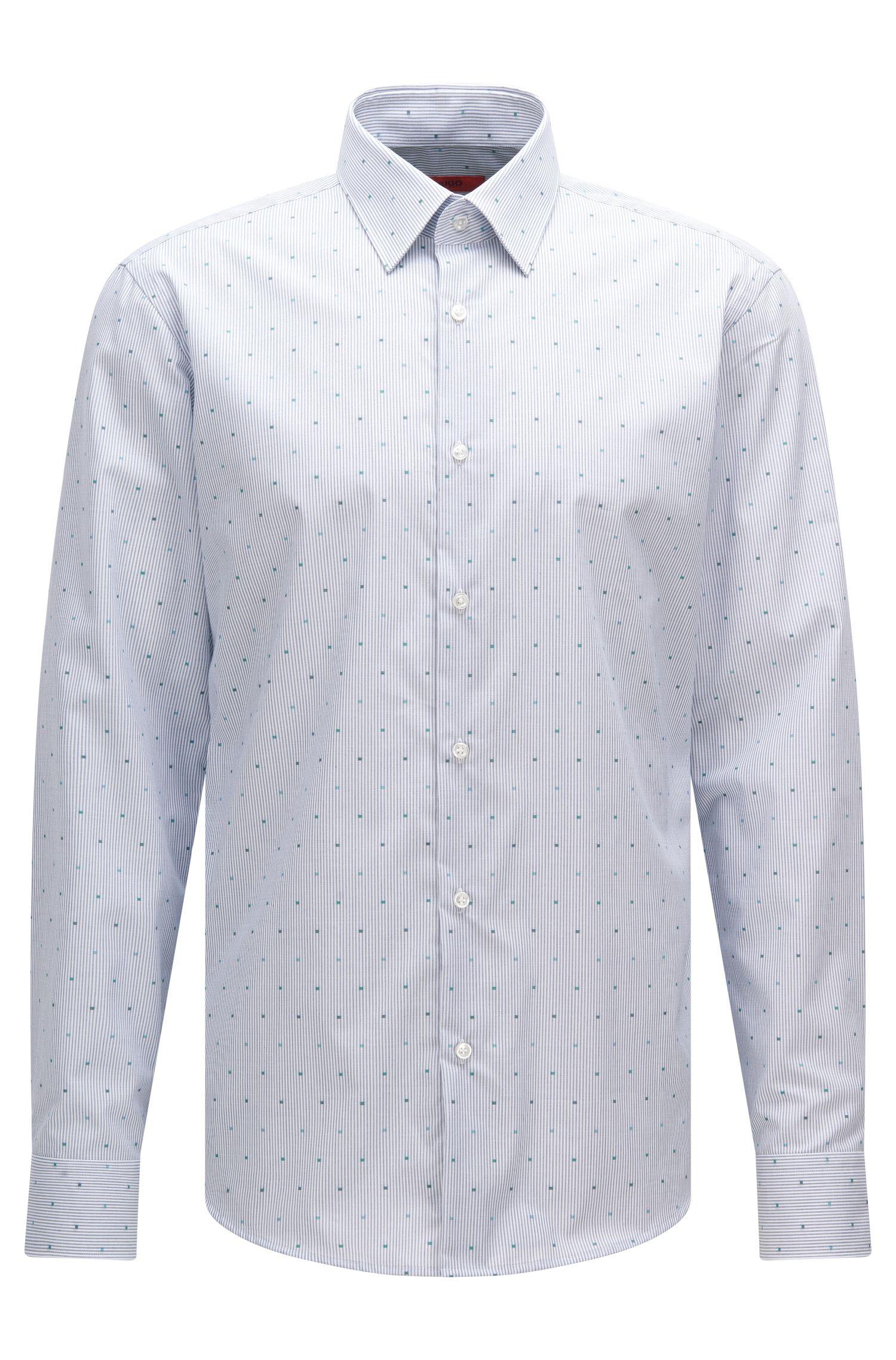 Gestreiftes Regular-Fit Hemd aus bügelleichter Baumwolle: 'C-Enzo'