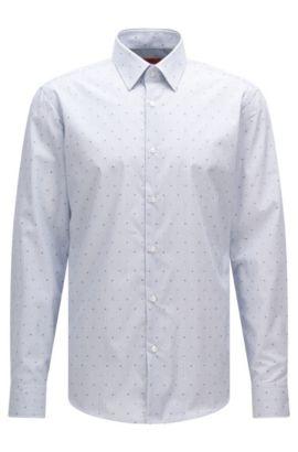 Gestreiftes Regular-Fit Hemd aus bügelleichter Baumwolle: 'C-Enzo', Blau