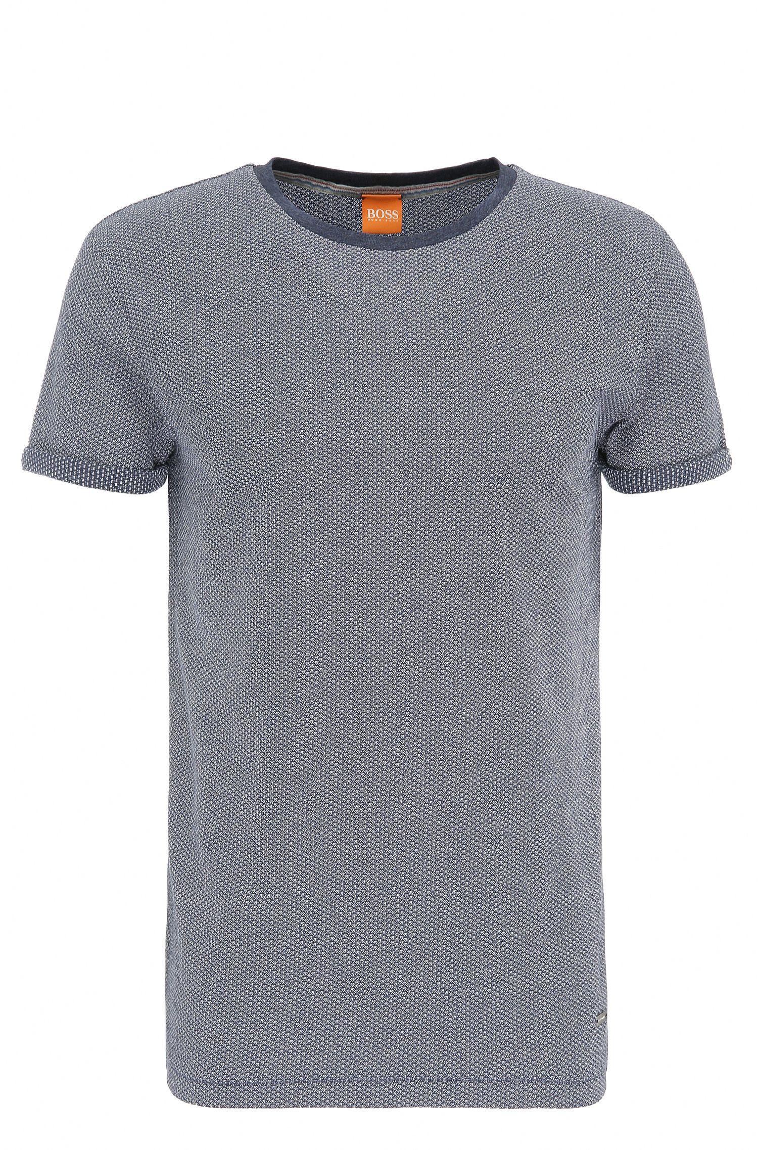 Regular-fit t-shirt in knitwear-look cotton: 'T-Break'