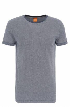 Regular-fit t-shirt in knitwear-look cotton: 'T-Break', Dark Blue