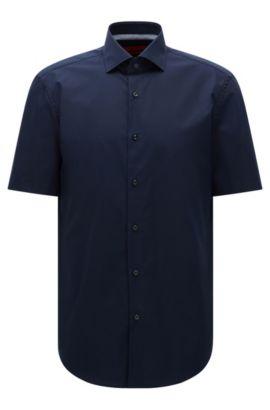 Chemise à manches courtes Regular Fit en coton: «C-Eraldino», Bleu foncé