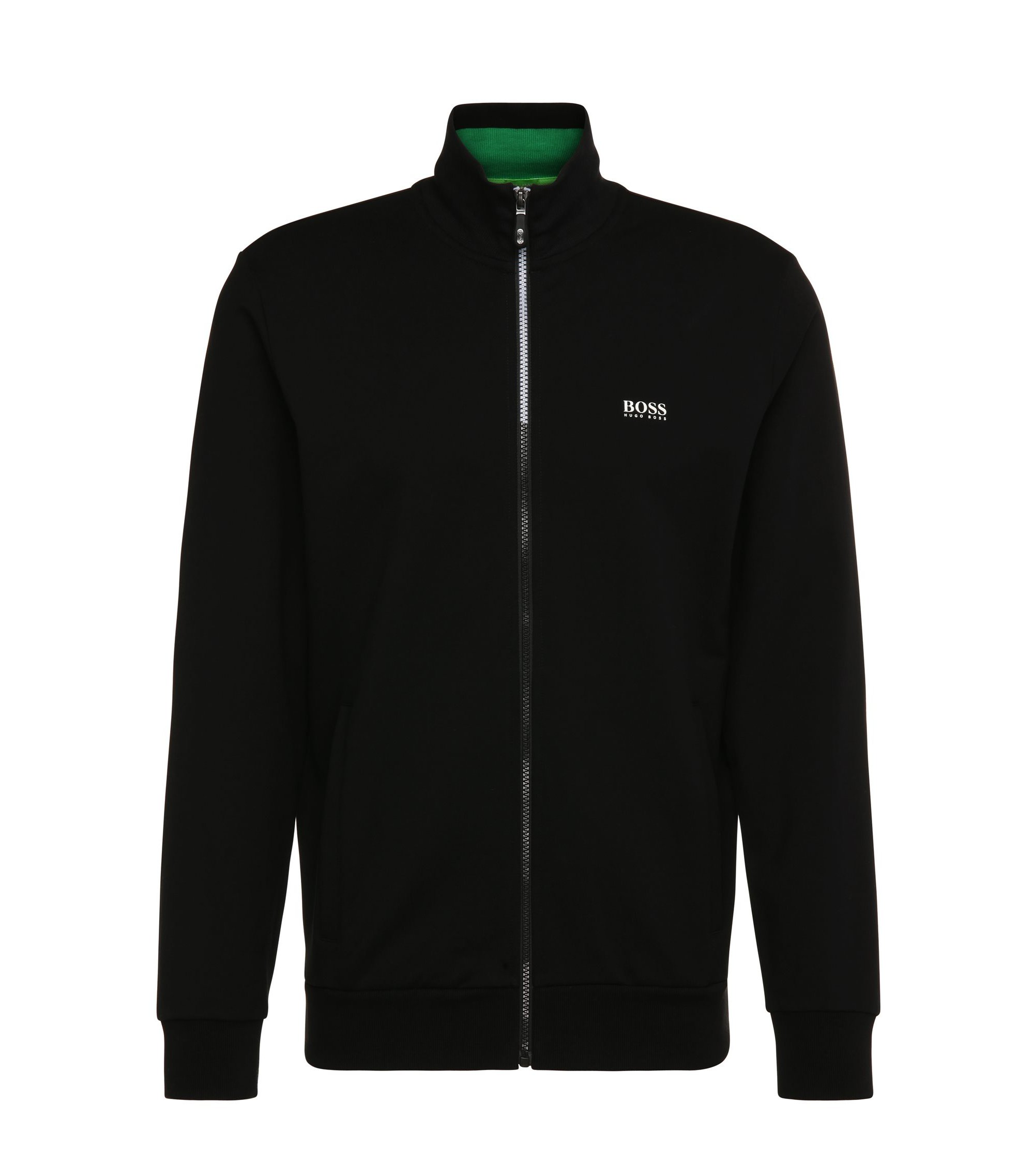 Regular-fit sweatshirt jacket in stretch cotton: 'Skaz 1', Black