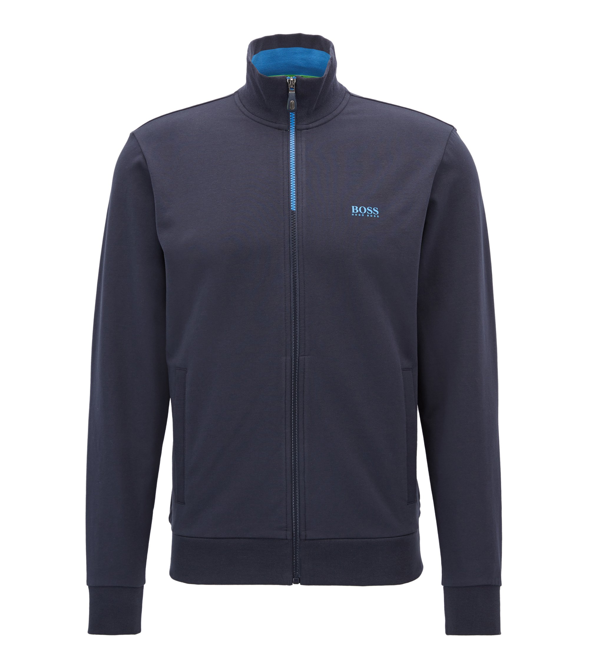 Regular-fit sweatshirt jacket in stretch cotton: 'Skaz 1', Dark Blue