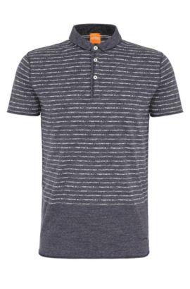 Relaxed-Fit Poloshirt aus Baumwolle mit Streifenmuster: ´Priam`, Dunkelblau